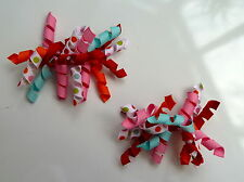 Gymboree Girls Hair Clips x 2 - Orange, Pink, Blue and White, Brand New (G17)