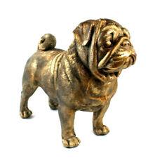 XXL Mops Hund Deko Figur Skulptur Objekt Pug Bulldogge gold Vintage Shabby