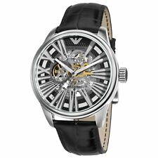 ** New **  Emporio Armani® watch MECCANICO AR4629 Men`s Skeleton , Black Leather