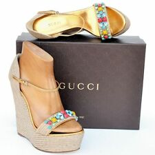 GUCCI New sz 38.5 - 8.5 Platform Wedge Heels Womens Sandals Shoes Espadrille