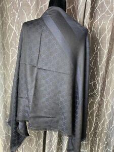 New Gucci Black/Dark Blue GG Wool Silk Large Square Scarf Shawl 281942 4160