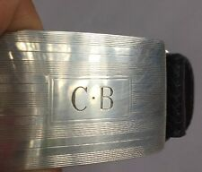 Tiffany & Co. Black Leather Belt Sterling Silver Buckle size 36 With Monogram