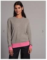 M&S Autograph 100% Cashmere Grey Jumper with Pink Hem/cuffs  Size 16