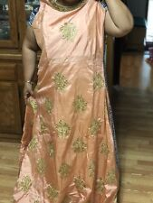 PEACH GOLDEN SARI GOWN Anarkali Salwar Kameez Floor Length INDIA BOLLYWOOD