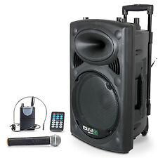 IBIZA Mobile Akku Sound Anlage PORT-15VHF Bluetooth USB MP3 SD Funkmikrofon 800W