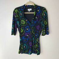 Chaus Women's Top Size Large Short Elbow Sleeves V-Neck Floral Casual Work