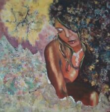 Abstract nude Portrait original mixed medium textured painting canvas