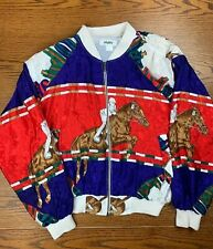 Vintage 80s 90s Horse Equestrian Full Zip Bomber Jacket L All Over Print Baroque