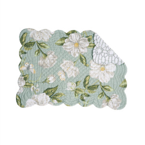 MAGNOLIA Quilted Reversible Placemat by C&F - Floral - Green, Gray, White