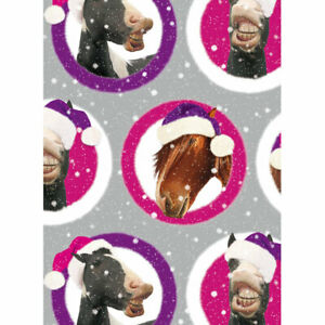 Horses Festive Pucker Up Holiday Gift Wrap