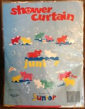 Giordano Junior PVC Shower Curtain Red Blue Yellow Green Bulls NEW NIP Vinyl