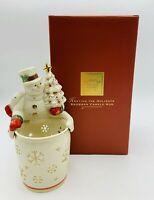 Vintage Lenox Snowman Hug Candle Tea Light Holder Retired NIB Sealed