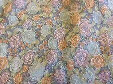 BLUE,PURPLE & APRICOT SHEER FLORAL- 44 INCH WIDE- 1 1/8 YARDS