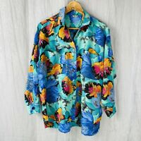 VINTAGE Ladies Green Multi Abstract Floral SIZE 20 UK 3/4 Sleeve Blouse V1