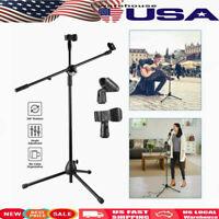 360° Rotating Microphone Stand Dual Mic Clip Boom Arm Foldable Tripod Sturdy