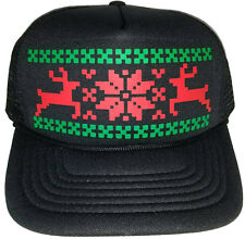 Reindeer Christmas Sweater Party Snapback Mesh Trucker Hat Cap Black