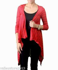 RX1 Coral Black Open Drapped Thin Dress Cover Up Top Cardigan Shawl XS S M L