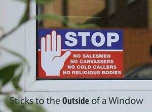 No Cold Callers Religious Groups Salesmen Door Sign Vinyl Sticker Weatherproof