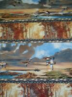 First Light wildlife autumn birds geese flying trees stripe South Sea fabric