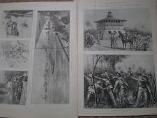 España América guerra bocetos de invasión de Cuba 1898 Old impresiones mi REF T