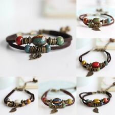 New Women Handmade Multilayer Rope Leather Bangle Drop Ceramics Beads Bracelet