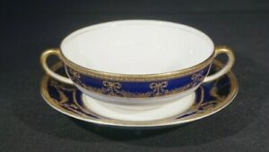 Beautiful Early Alfred Meakin Bleu De Roi Cream Soup Bowl And Saucer