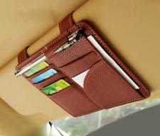 Auto Sun Visor Holder for Driver License, Registration, Insurance, C Cards Brown