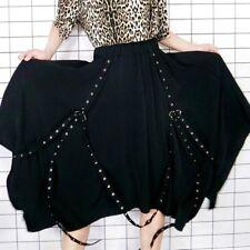Women Irregular Punk Rock Skirt Detachable Strap Decor Dance Show Party Gothic