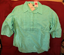 "M&S ""Classic"". Pure cotton light blouse/top (18), colour Aqua. Marks & Spencer."