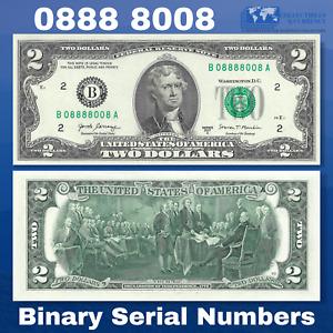 2017A FRN $2 Two Dollar Bill New York, Binary Serial Numbers B08888008A, UNC