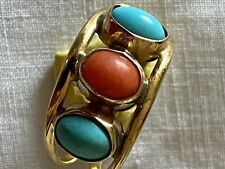 18 Carat Gold Turquoise And Red Coral Ring Size O Italian VGC