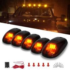 5x Black Smoked Cab Roof Marker Running Lamps w/ Amber LED Lights Truck 4x4 SUV