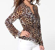 NWT CACHE Sheer Leopard Print Jacket GOLD CHAIN trim  Dress Top   2  ( S )