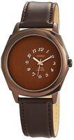 Men's Watch Brown Titanium Look Analogue Leather Quartz Watch W-60412119165500