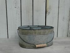 Large galvanize metal divided oval bucket primitive farmhouse country home decor