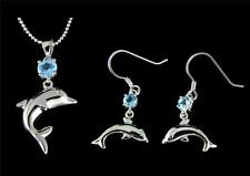 GENUINE BLUE TOPAZ SILVER 925 HAWAIIAN DOLPHIN PENDANT HOOK EARRINGS SET
