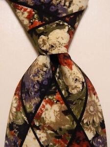 STRUCTURE Men's 100% Silk Necktie ITALY Designer Geometric Multi-Color EUC