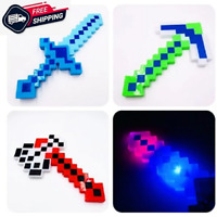 MINECRAFT INSPIRED FLASHING LED PIXEL BLOCK DIAMOND SWORD TOY KID LIGHTS EFFECTS