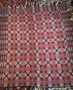 Antique Coverlet American Wool 19th Century 1859 Presentation Summer Winter asis