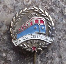 1956 Czechoslovak Rail Workers National Trade Union Day Electric Train Pin Badge