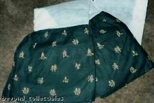 Duel/King Size - Black Oriental With Gold Writing Bed Dust Ruffel Skirt - New