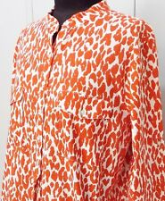 Immaculate Size M Pick & Peck Weekend Orange & White Cotton Blouse- 53cm Bust