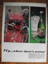 1965 VTG Original Magazine Ad 7 Up Soda Drink Where There's Action Things Jumpin