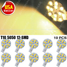 10X Warm White T10 194 W5W 12x5050 SMD LED Landscaping Light Lamp Bulb US