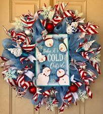 Baby, Its Cold Outside Christmas Wreath with Snowmans Sign, Peppermint Ribbons