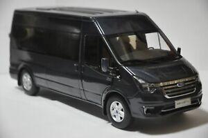 Ford Transit Pro 2021 van model in scale 1:18 Gray Blue