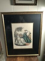 Professionally Framed VTG LaMode Ullustree Fashion Lithograph 22.5x18/9.5x12.25