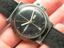 Rare soviet RAKETA watch Chromed case, Unusual Day/Date display *SERVICED* VGC+