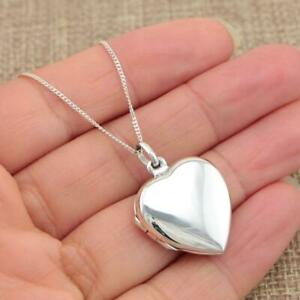 925 Sterling Silver Heart Photo Locket Pendant Necklace Jewellery SP1