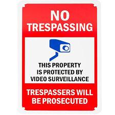 """Aluminum Sign Legend """"No Trespassing - Video Surveillance"""" 10"""" x 7"""", A-1"""